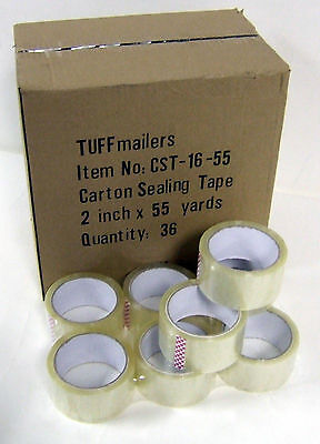 36 Rolls Carton Sealing Clear Packingshippingbox Tape- 1.6 Mil- 2 X 55 Yards