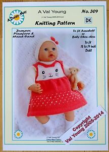 KNITTING PATTERN DAISY-MAY No.309 for Annabell or16 to 18 inch doll
