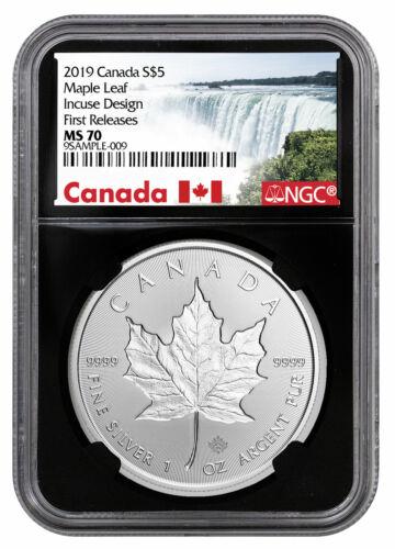 2019 Canada 1 oz Silver Maple Leaf Incuse $5 NGC MS70 FR Black Core SKU57188