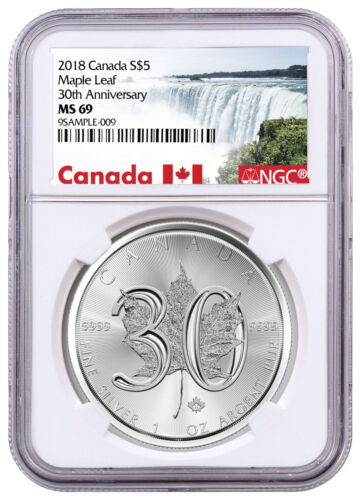 2018 Canada 1 oz Silver Maple Leaf 30th Anniv $5 Coin NGC MS69 SKU52889