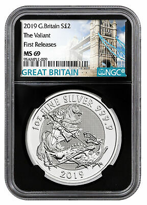 2019 Britain 1oz Silver Valiant St George NGC MS69 FR Blk Tower Label SKU58325