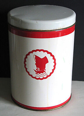 "Vintage 1940s Metal Kitchen Canister Red White Bonnet Silhouette 7.25"" FREE SH"
