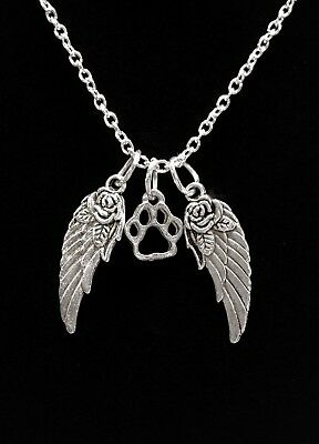 Pet Memorial Necklace Dog Paw Print Guardian Angel Wing Heaven Animal Jewelry ()