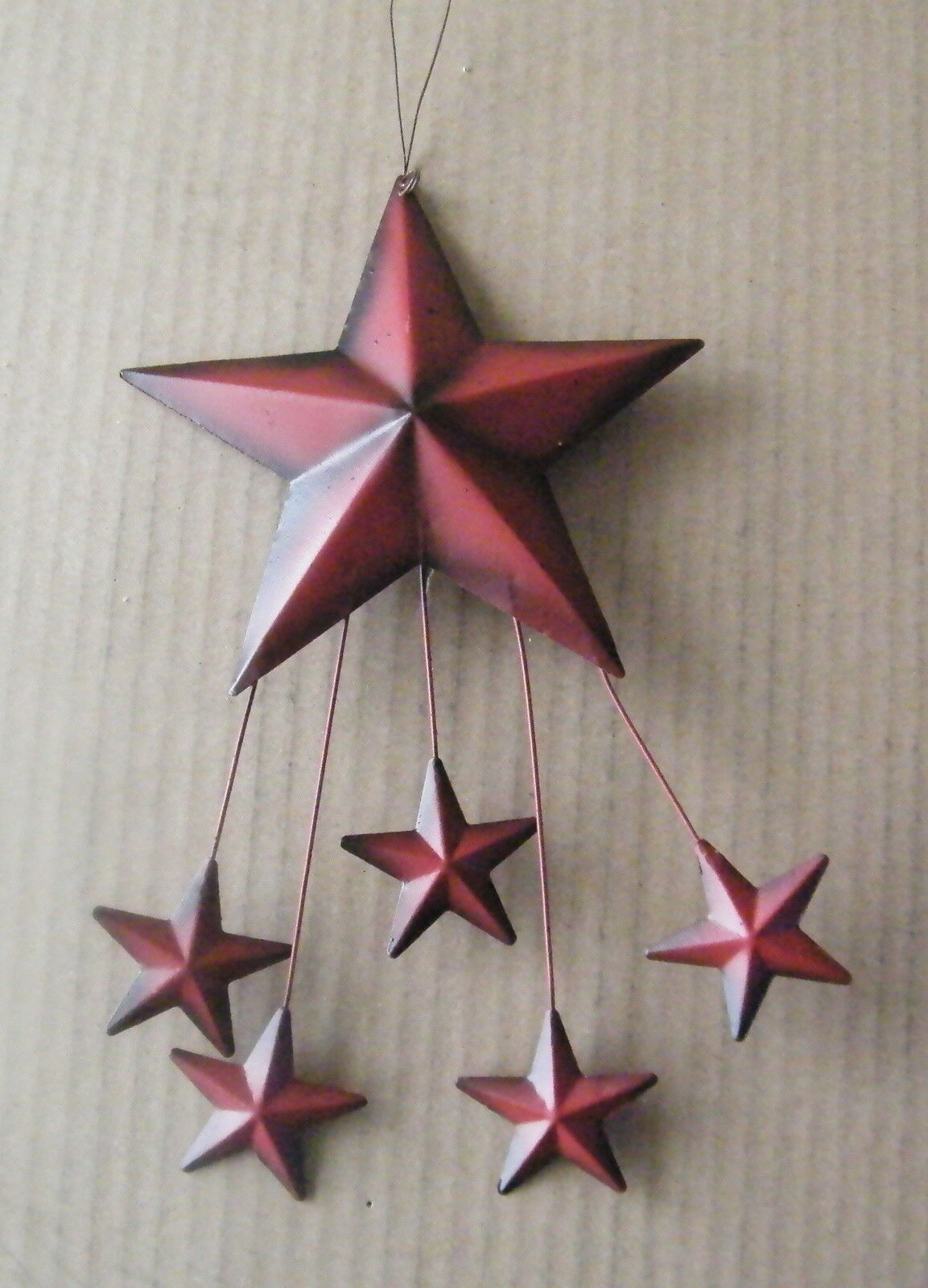 Country Burgundy Barn Star Shooting Stars Primitive Decor Patriotic tin Sign 10""