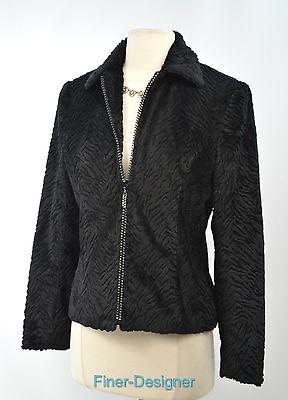 Giancarlo Ferrari Blazer suit Jacket faux fur jungle animal bling zip coat 4 NEW