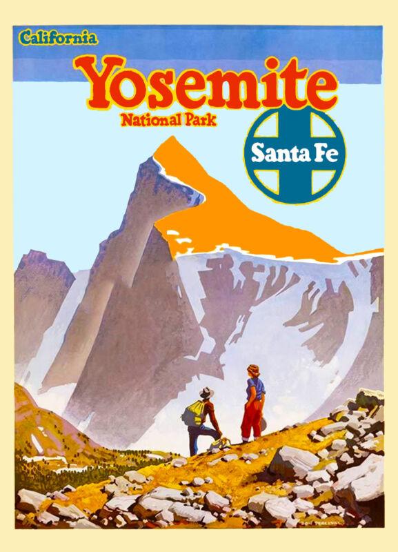 Yosemite California Santa Fe United States America Travel Advertisement Poster