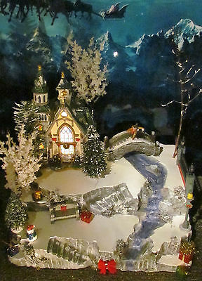 Christmas CREEK Waterfall & STONE BRIDGE Village DISPLAY platform Dept 56 Lemax