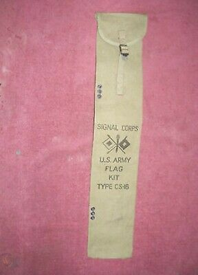 ORIG. UNISSUED WW II US ARMY KHAKI CANVAS SIGNAL CORP. FLAG CASE DATED 1942