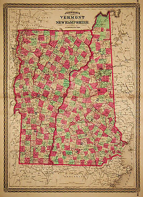 1870 Genuine Antique Hand Colored Map of Vermont & New Hampshire. Johnson