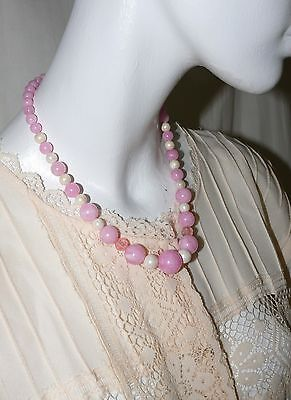 1950`s Necklace  Thermoset  Pink Pearlized Moon Glow Acrylic Mid Century Modern