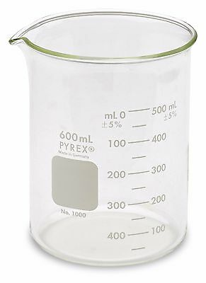 Corning Pyrex 1000 Griffin Low Form Glass Beaker 600ml - Single