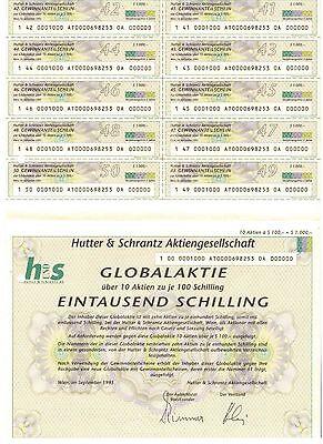 Hutter & Schrantz AG Wien 1995    Globalaktie   1000 Schilling