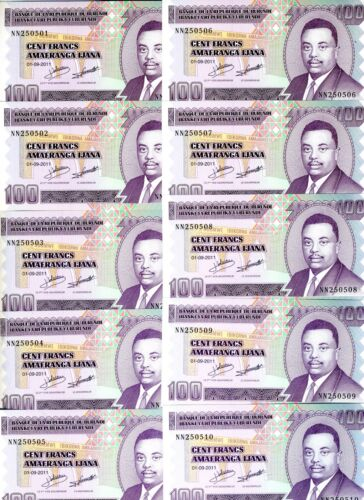 LOT Burundi, 10 x 100 Francs, 2011, P-44, UNC > Reduced Size Issue