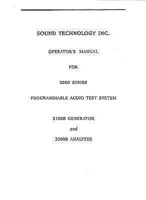 Sound Technology 3100b3200b Programmable Audio Test System Operators Manual Pdf