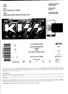 KISS Ticket Allphones Arena Gold Reserve Seating Sect 26 Row B Surry Hills Inner Sydney Preview