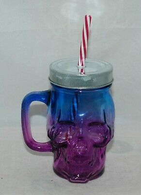 Spooky Blue Purple Skull Glass Mason Jar for Party, Entertaining or Halloween](Decorate Mason Jars For Halloween)