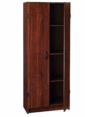 Kitchen Pantry Cabinet Storage Wood Dark Cherry Organizer 2 Doors And 4 Shelves
