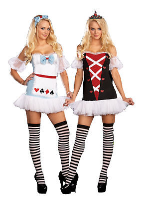 Tea For Two Adult Women Costumes Alice & Queen Of Hearts Fancy Dress Dream Girl