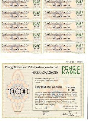 Pengg Breitfeld Kabel AG  Wien 1990   Global-VZ Aktie  10000 Schilling