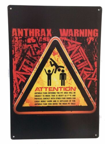 Anthrax Attention Mosh Pit Area Warning Metal Wall Sign Poster New Band Merch