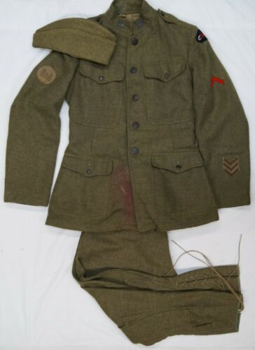 WW1 US AEF Engineers Div Patch Tunic Breeches And Wedge Cap Uniform Grouping