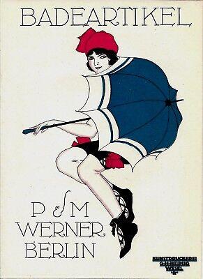 Original vintage poster print BEACH FASHION WERNER BERLIN 1914