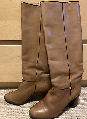 Gucci Vintage Women's Brown Tan Leather High Heel Boots Size 38 Vibram Italy