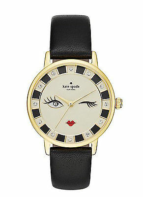 NEW Kate Spade New York KSW1052 Wink Metro Black Leather Strap Women's Watch