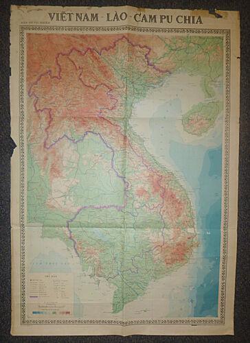 1974 MAP - LONG TIENG - SAIGON - Cambodia - Laos - Vietnam War - HANOI, KHE SANH