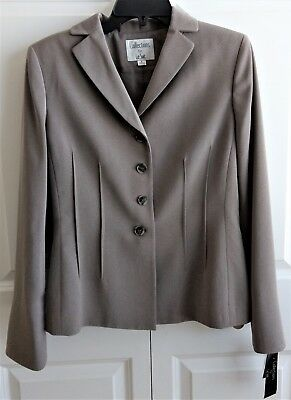 NWT~Collections for Le Suit Woman's Taupe Blazer Suit Jacket-Size 6
