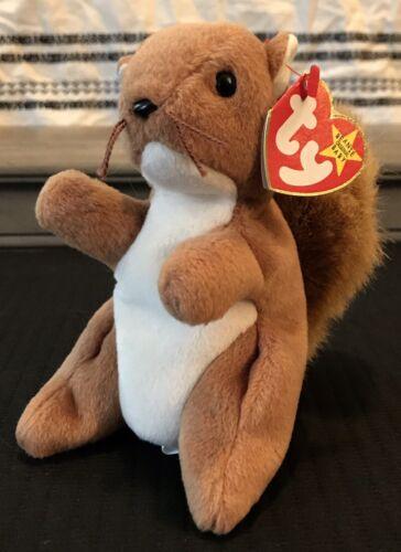 Ty Beanie Babies Nuts Squirrel 1996 PVC Pellets NWT