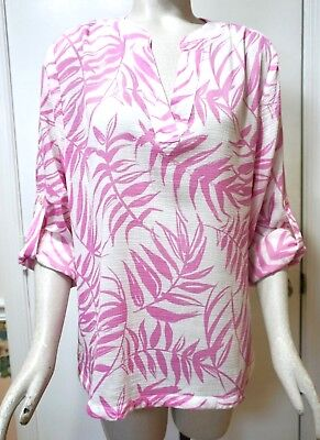 - NWT $100 Tommy Bahama Tropical Leaf Print Cotton Blouse Top, Wild Orchid, Sz. M