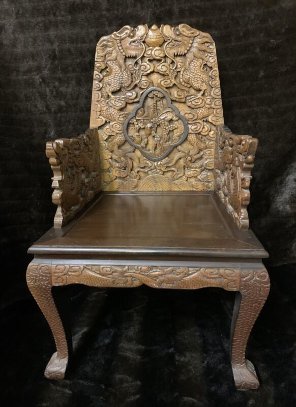 Gorgeous CHINESE ANTIQUE HAND CARVED WOOD Dragon & Scene ARM CHAIR