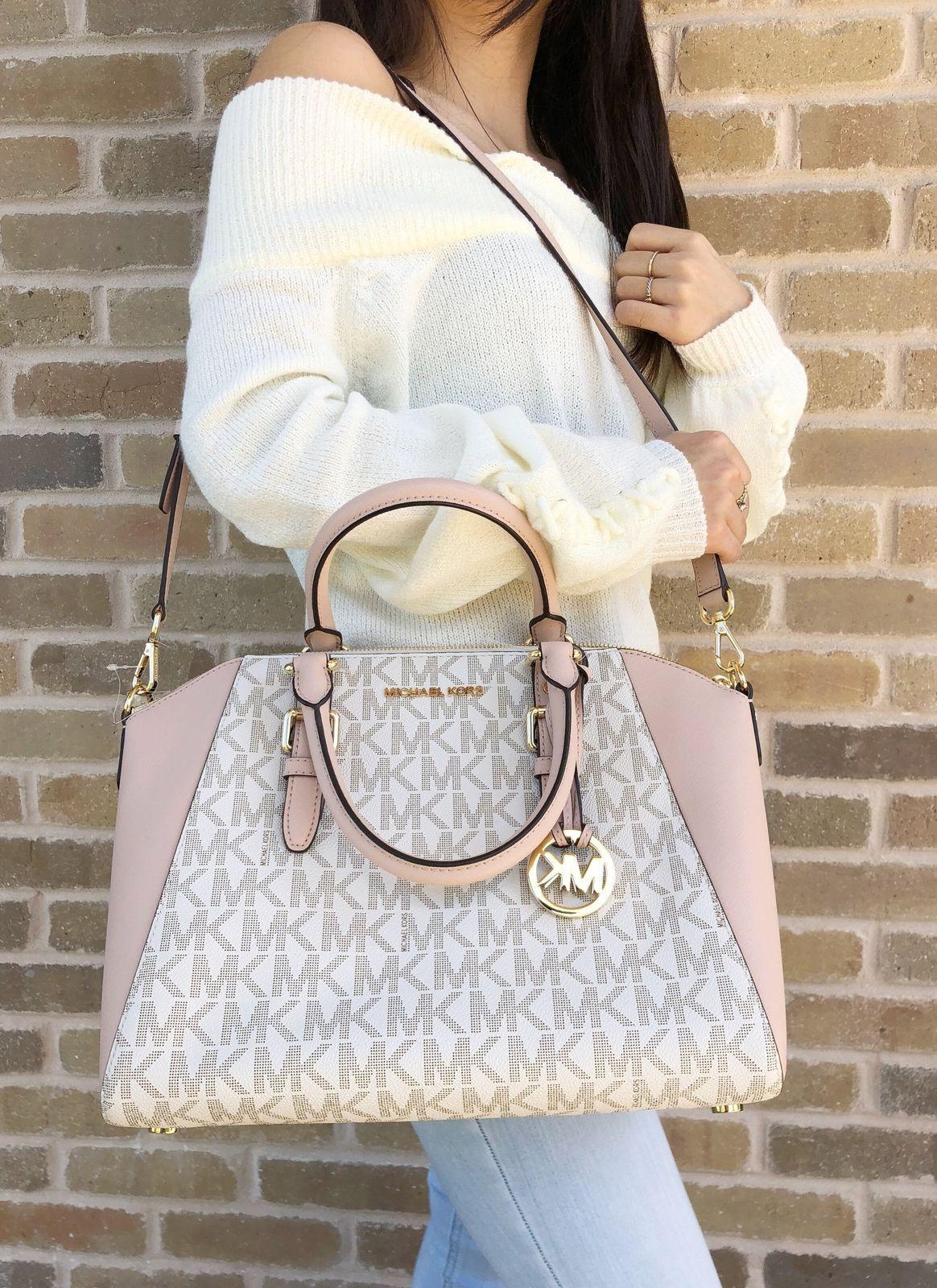 ec50ceb88fa9 Authentic Michael Kors Ciara Large Satchel Signature Handbag Ballet ...