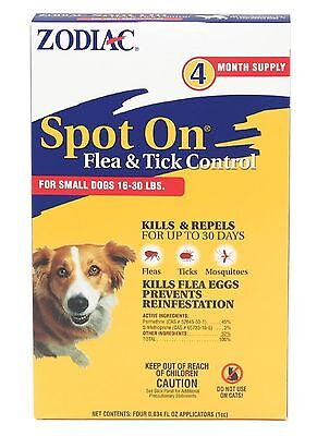 Zodiac Flea & Tick Spot On For Small Dogs 16 to 31 Pounds 4 month Supply