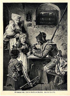 Ein hungriger Gast Landsknecht n. Gemälde H. Kaulbach Dekorativer Holzstich 1896