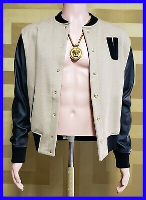 NEW VERSUS VERSACE BEIGE BOMBER JACKET with BLACK LEATHER SLEEVES 48 - 38