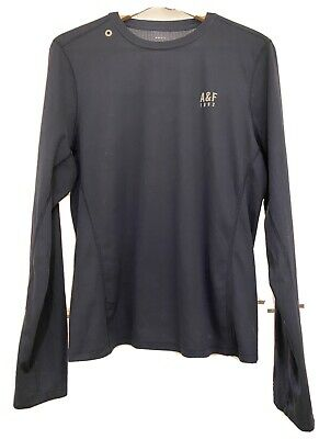 Mens Active Abercrombie & Fitch Long Sleeve Size XXL Dark Navy Blue Super Light