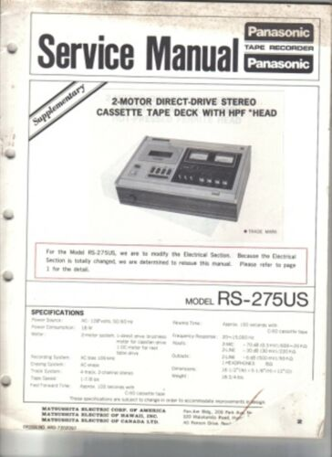 PANASONIC SERVICE MANUAL FOR RS-275US SUPLLEMENT