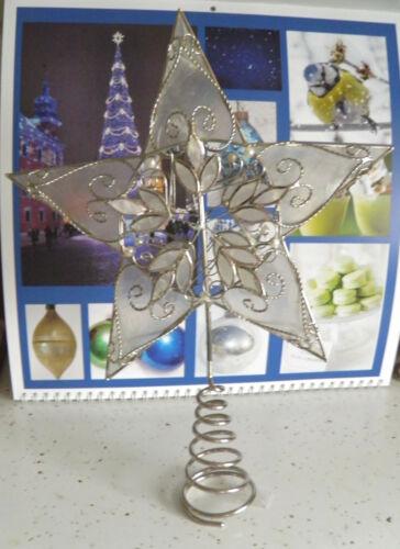 Pretty Vintage Glass Capiz Shell Silver & Beaded Christmas Star Tree Topper