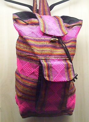 Backpack With Drawstring, Top Flap, Outside Pocket, Lined Southwest Design Pink