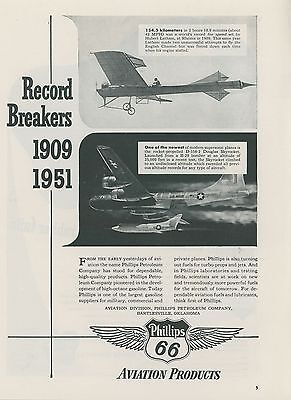 1952 Phillips 66 Aviation Gas Ad 1909 & 1951 Speed Records Douglas Skyrocket
