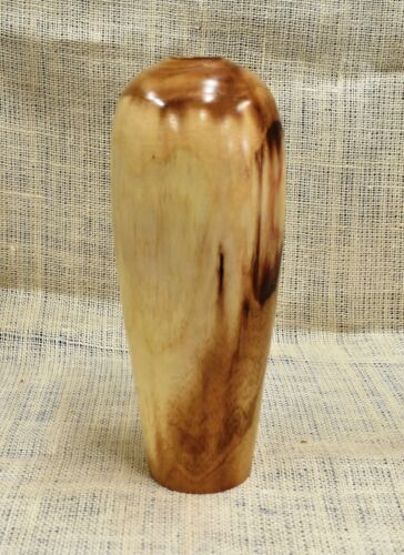 Artist Hand Turned and Finished Unknown Wood Tall Vase Signed One of a Kind