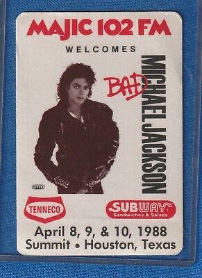 MICHAEL JACKSON BAD TOUR 1988 BACKSTAGE PASS MINT CONDITION!! WITH COA