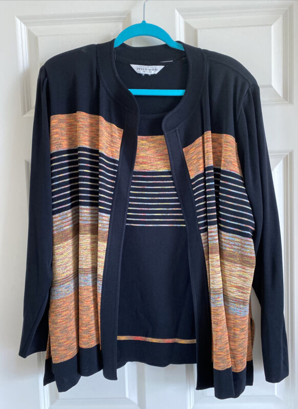 Exclusively Misook Black With Rust Marle Stripes Jacket & Tank 2X 3X
