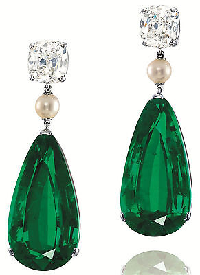 (25 ct Dangle Earrings Solid 925 Sterling Silver Green Pear Pearl Cushion Cz Gift)