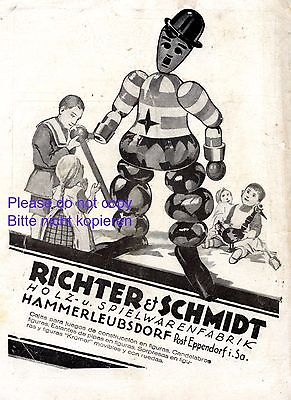 Spielwaren Hammerleubsdorf 1924 Reklame Richter & Schmidt Charlie Chaplin Holz