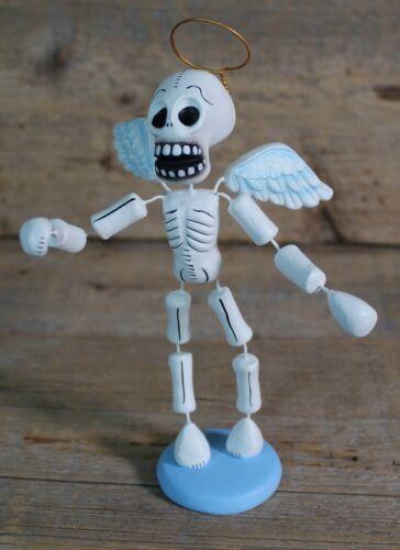 #1 Angel Wings Skeleton Day of the Dead Clay Handmade Puebla Mexican Folk Art