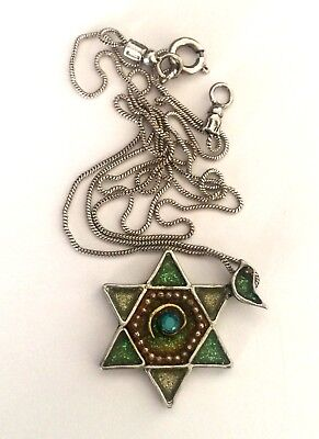925 STERLING SILVER STAR OF DAVID WITH A DOVE JEWISH PENDANT + CHAIN NECKLACE