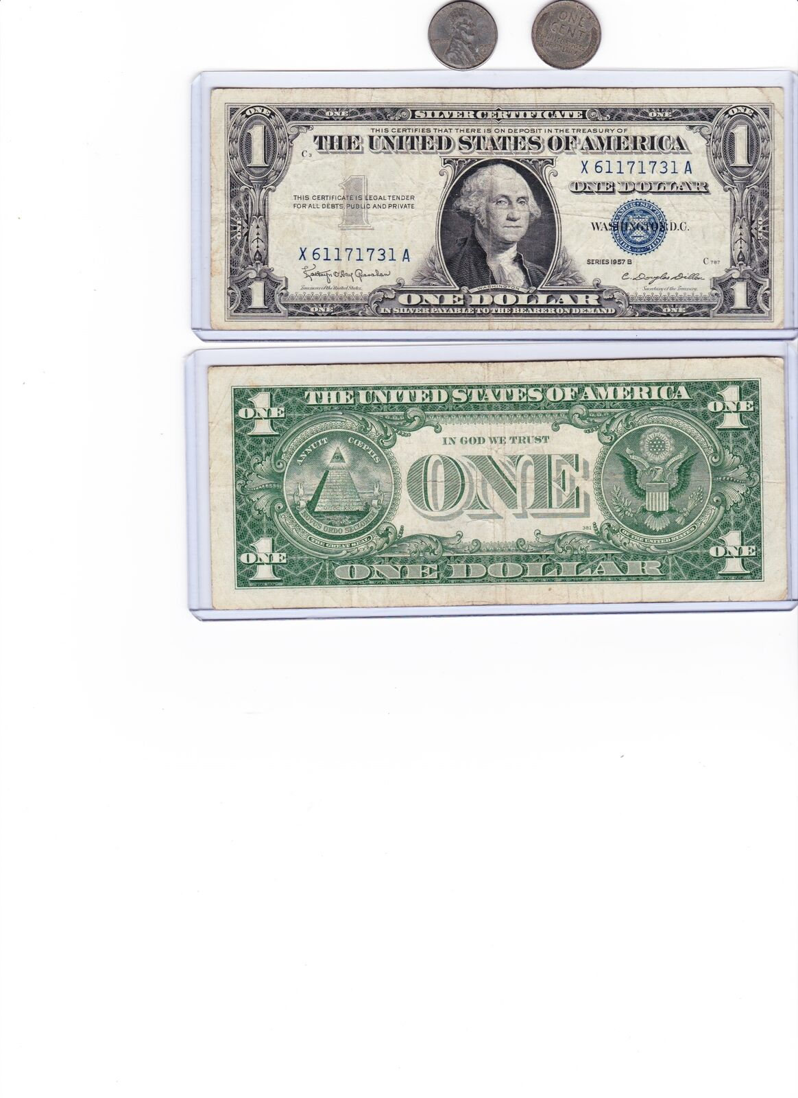 1943 Steel cent/penny &1935 or 1957 $1 Silver Certificate Blue Seal Note, 1 each